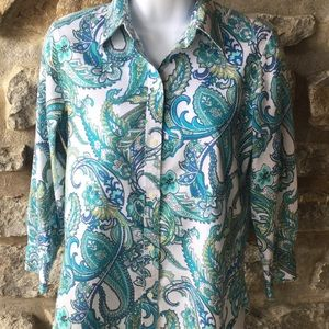 Chaps Classics XS Oxford Style Cotton Blouse